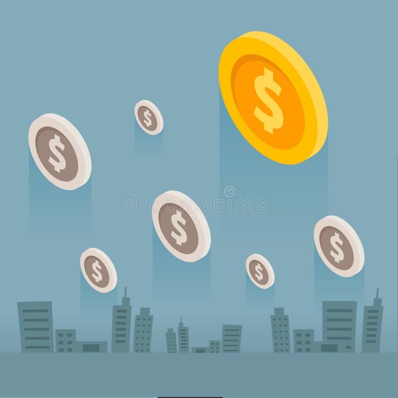 Город дела денег монетки на серой предпосылке иллюстрация вектора