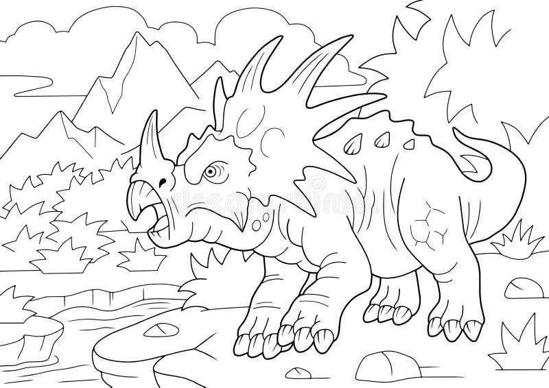 Город динозавр стиракозавр, книга цветов, забавная иллюстрация стоковые фото