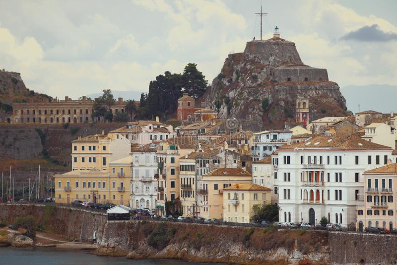 Город и крепость на утесе corfu Греция стоковые фото