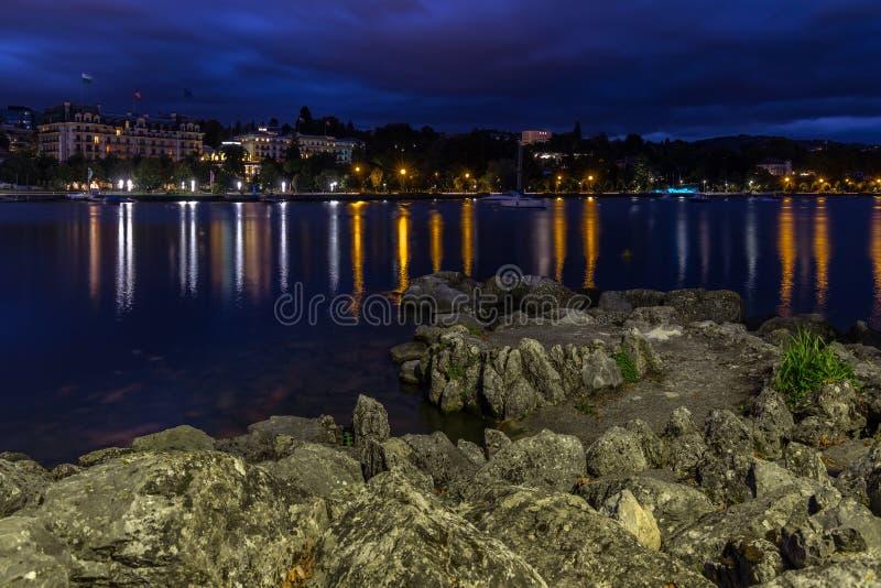 Город Лозанны на утре стоковое фото rf