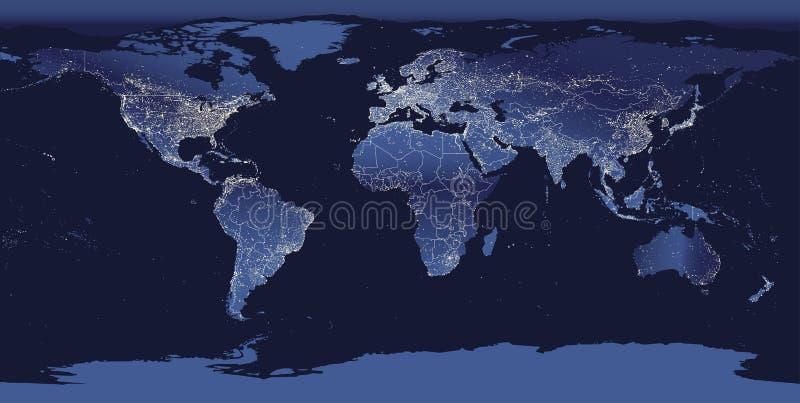 Город мира освещает карту Взгляд земли ночи от космоса также вектор иллюстрации притяжки corel иллюстрация штока