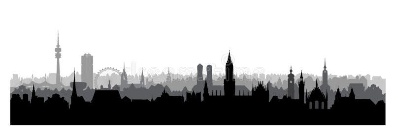 Город Мюнхена, Германия Горизонт зданий ориентир ориентира предпосылка больше моего перемещения портфолио иллюстрация штока