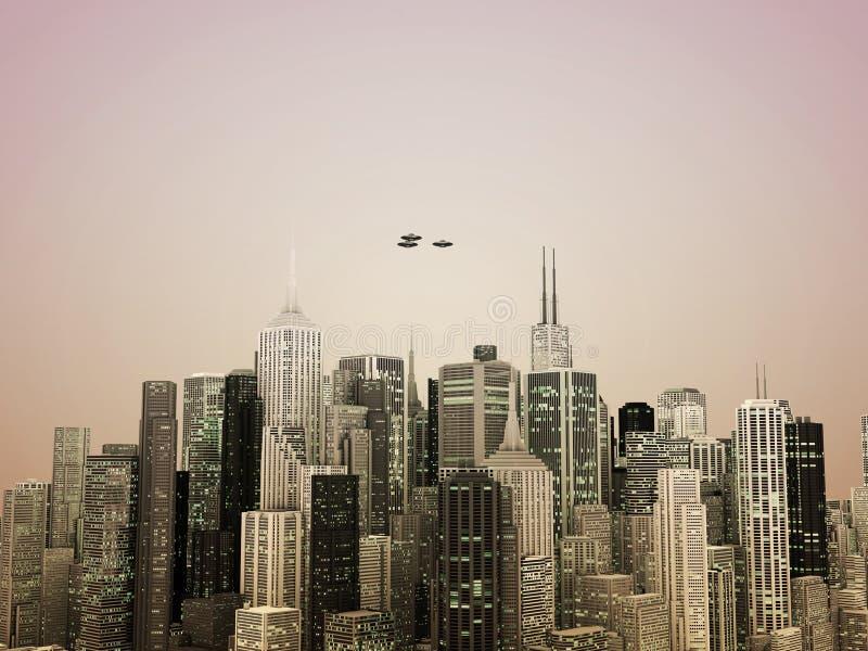 город над ufo иллюстрация штока