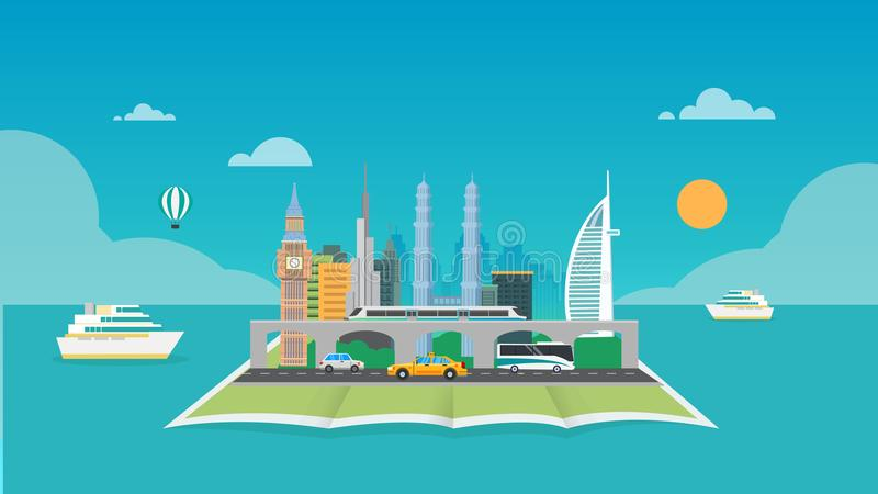Город на карте вокруг моря с предпосылкой шлюпки и неба бесплатная иллюстрация