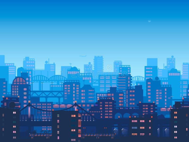 Город на ноче Городок вектора в плоском дизайне стиля Панорама большого города на ноче бесплатная иллюстрация