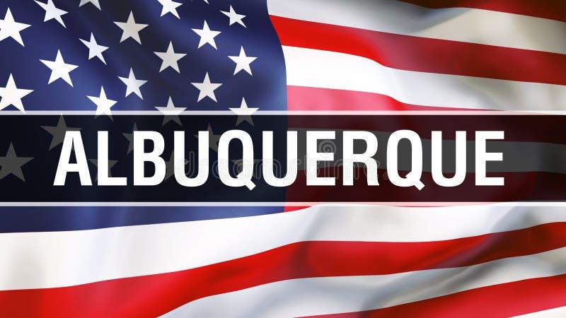 Город на предпосылке флага США, Альбукерке перевод 3D Флаг Соединенных Штатов Америки развевая в ветре американский флаг самолюби иллюстрация вектора