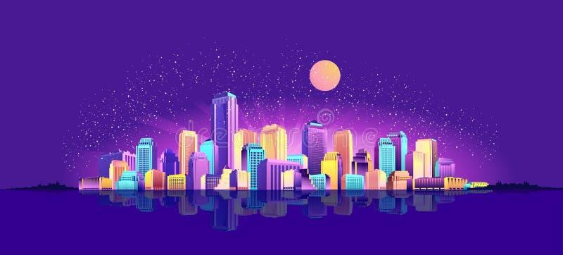 Город ночи знамени вектора иллюстрация вектора