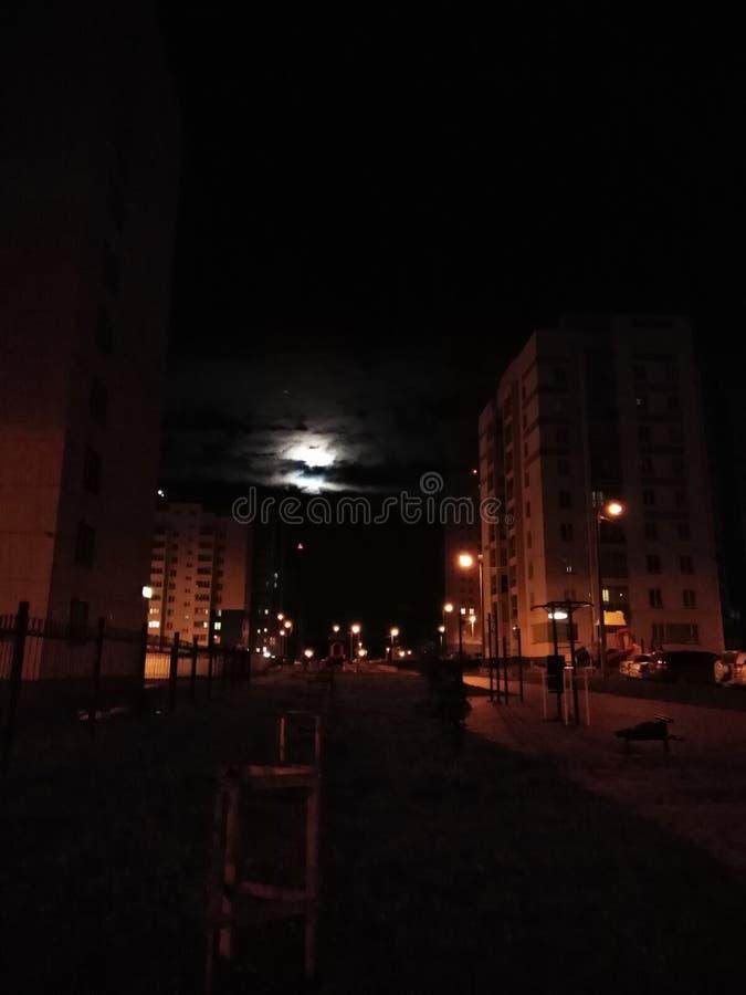 Nights city. Ночь на улице, night, city, moon, street, home stock image