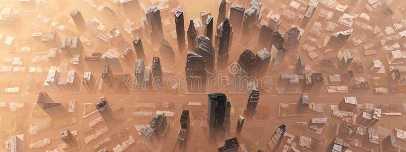 Город от воздуха иллюстрация вектора