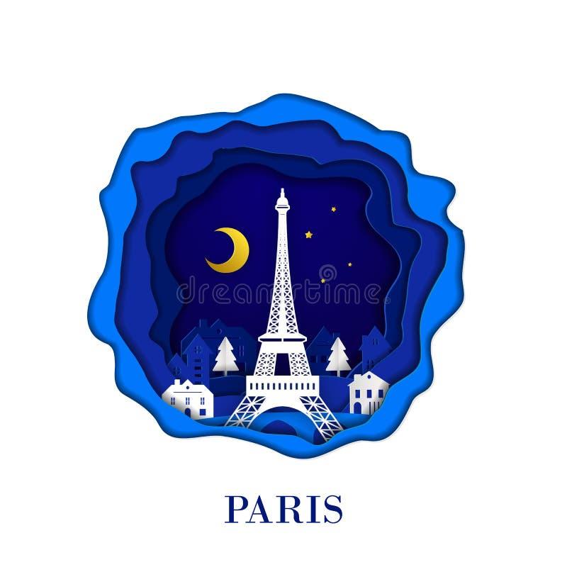 Город ПАРИЖА Франции в цифровом искусстве бумаги ремесла Сцена ночи Концепция перемещения и ориентира назначения Стиль Papercraft бесплатная иллюстрация