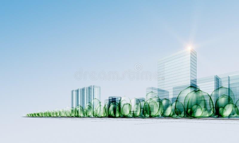 город самомоднейший иллюстрация вектора