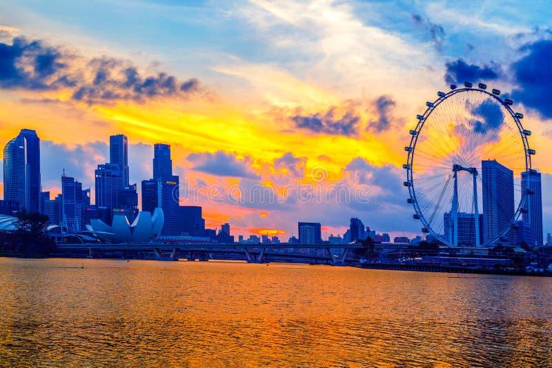 Город Сингапура, Сингапур: Январь 2,2018: Горизонт Сингапура Singap стоковое фото