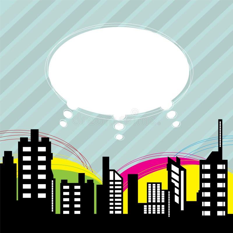 Город с воздушным шаром речи бесплатная иллюстрация