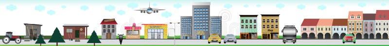 Город с всеми видами элементов - сарай, школа, магазин, гостиница, квадрат, середины перехода и другое сада иллюстрация штока