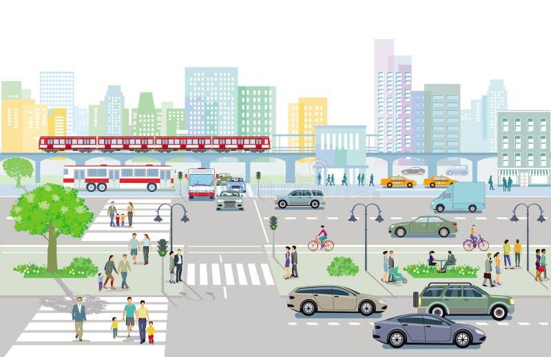 Город с движением и пешеходы на тротуаре бесплатная иллюстрация