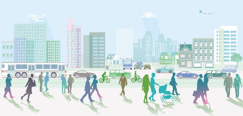 Город с движением и пешеходы на тротуаре иллюстрация штока
