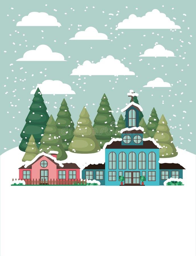 Город с церковью в snowscape иллюстрация вектора
