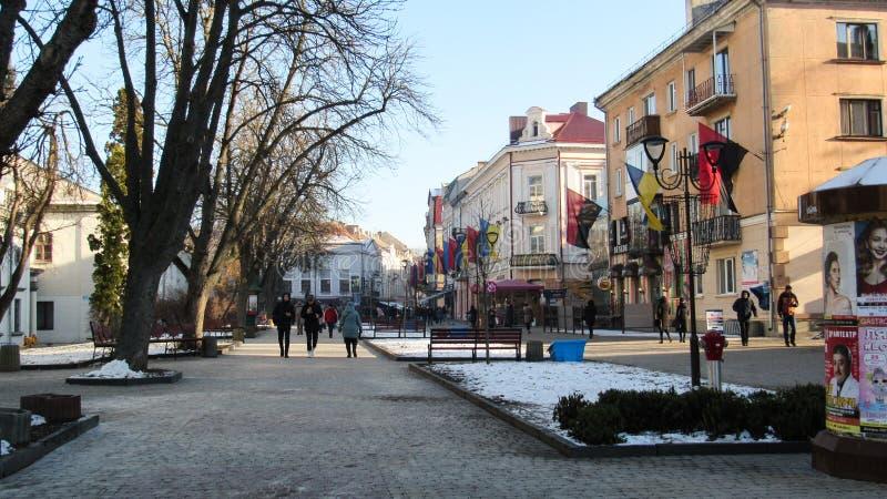 Город Тернополь зимой стоковая фотография rf