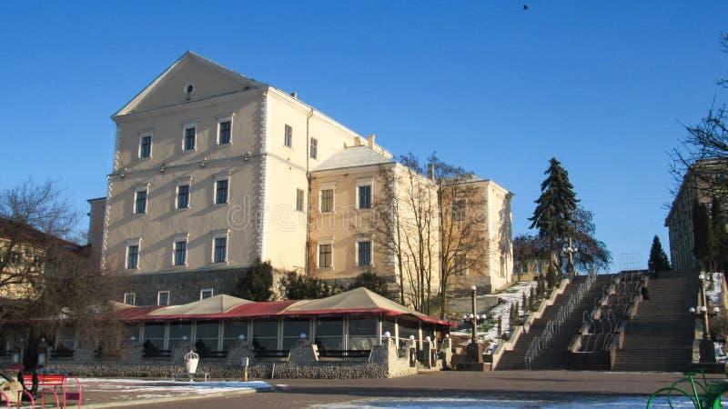 Город Тернополь зимой стоковая фотография