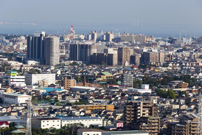 Город Токио с офисом и жилищным строительством t во взгляде неба стоковое изображение rf