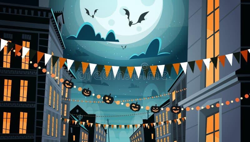 Город украшенный для жилищного строительства с тыквами, концепции торжества хеллоуина партии ночи праздника гирлянд бесплатная иллюстрация