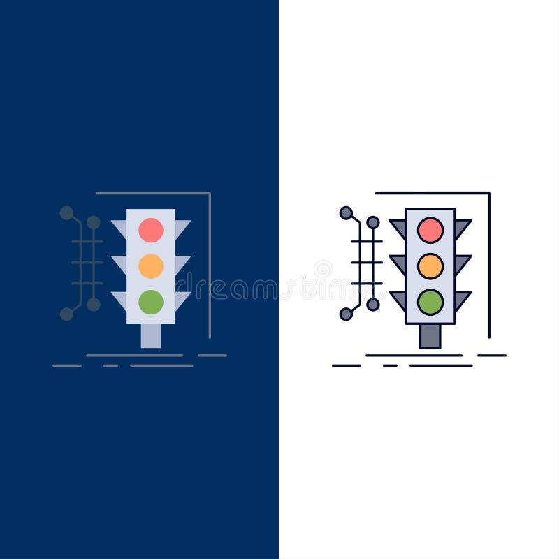 Город, управление, контроль, умный, вектор значка цвета движения плоский иллюстрация вектора