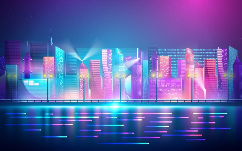Город футуристических ночей Cityscape на темном фоне с яркими и светящимися неоновыми пурпурными и синими огнями Иллюстрация вект бесплатная иллюстрация