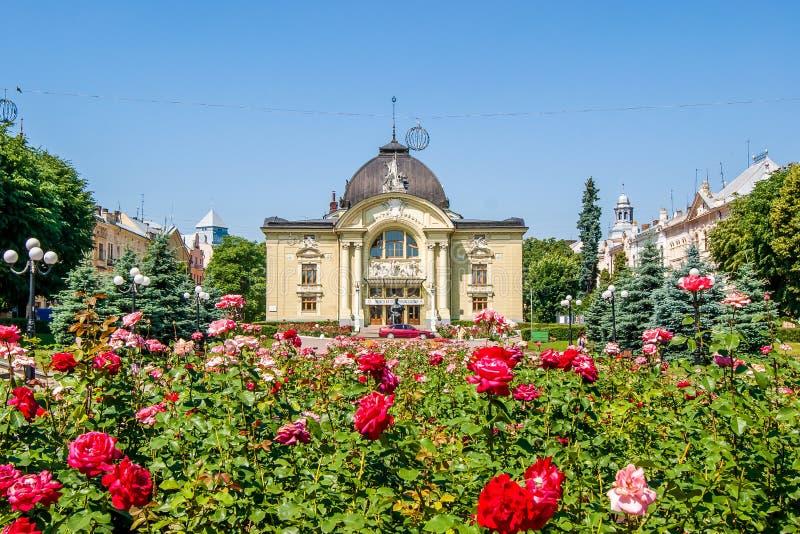 Город Chernivtsi Украина театр нот драмы chernivtsi Su стоковое фото