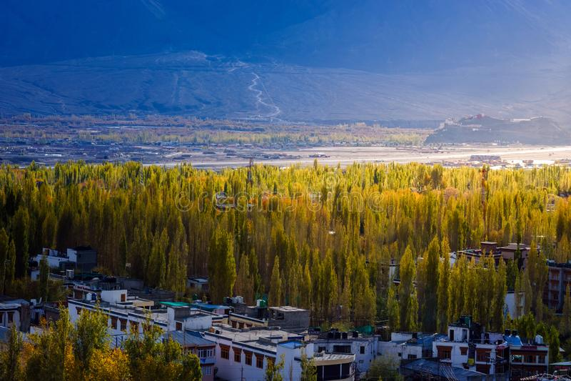 Город Leh-Ladakh в горе на сезоне Autumm стоковое фото rf