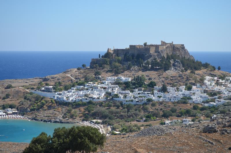 Город Lindos на острове Родоса Греции стоковое фото