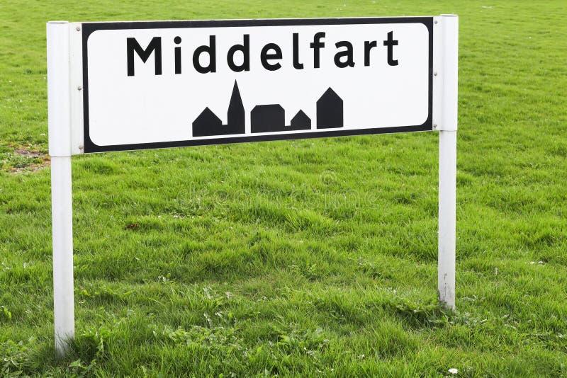 Город Middelfart подписывает внутри Данию стоковое изображение rf