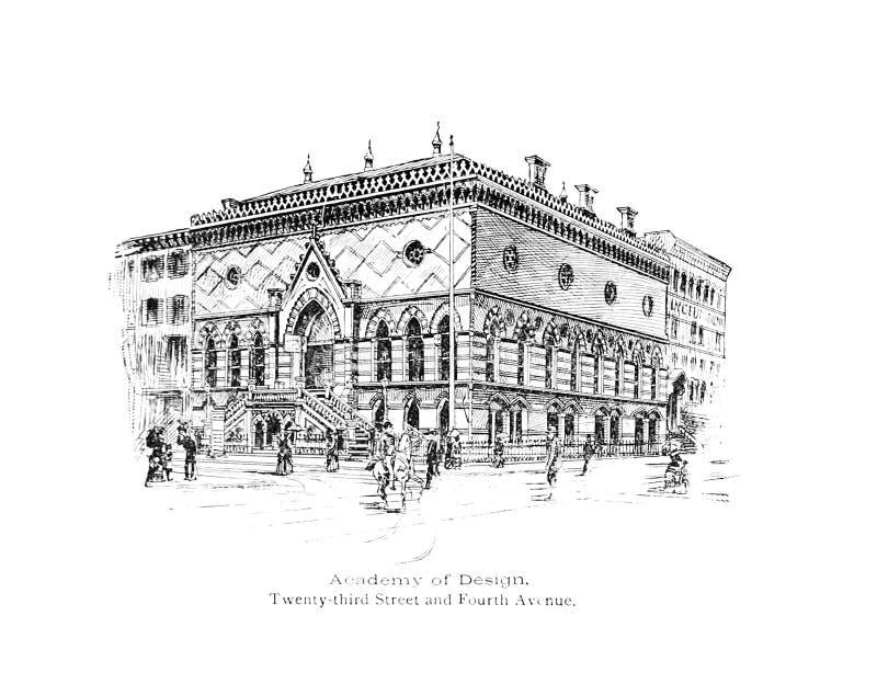 город New York Иллюстрация гравировки иллюстрация штока