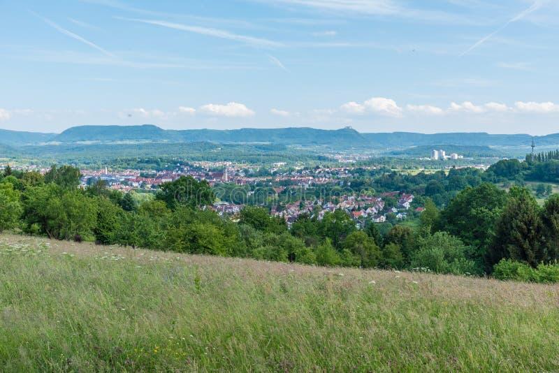 Город Nuertingen в Германии стоковое фото