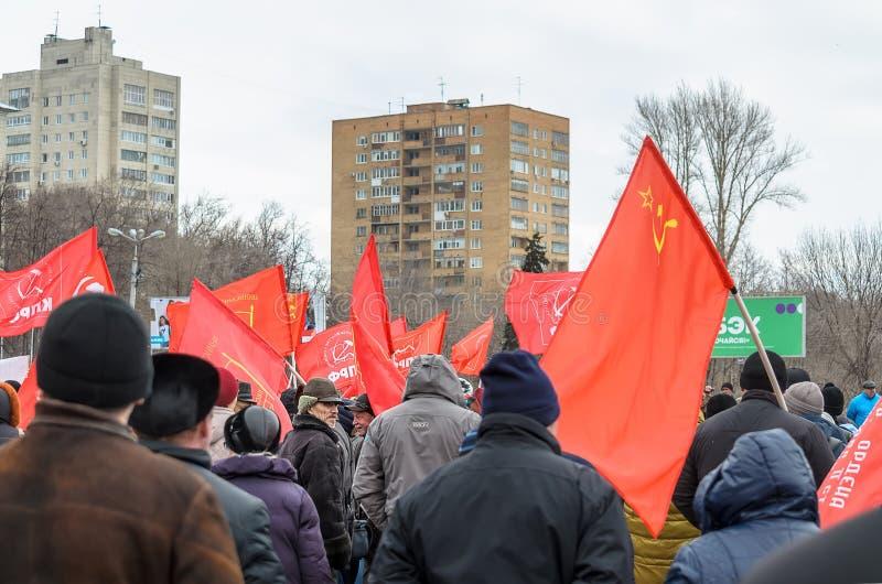 Город Ulyanovsk, России, march23, 2019, ралли коммунистов против реформы правительства России стоковая фотография