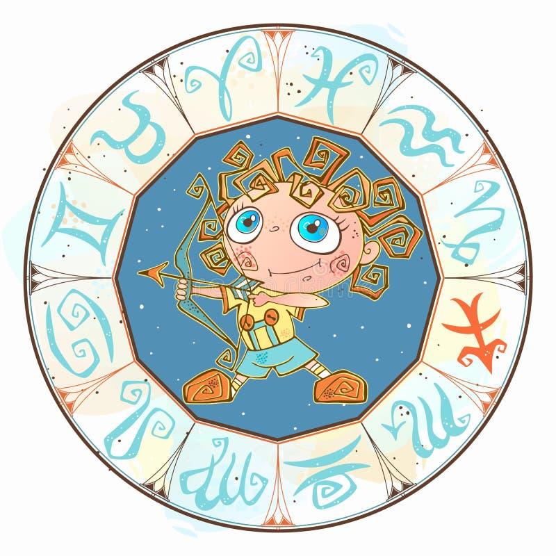 Гороскоп для детей подписывает Saggitarius в круге зодиака вектор иллюстрация вектора