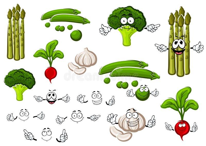Горох, чеснок, брокколи, редиска и спаржа бесплатная иллюстрация