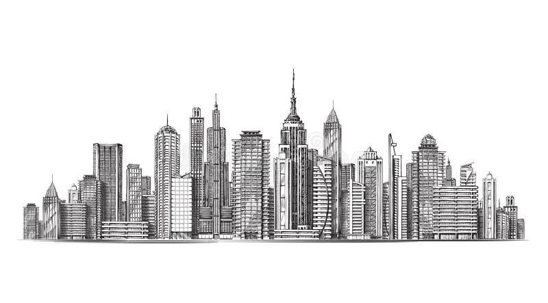 Город Архитектурноакустические современные здания в панорамном взгляде Иллюстрация вектора эскиза иллюстрация штока