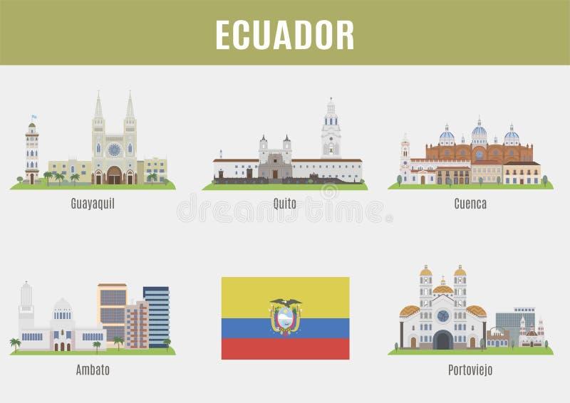 Города в эквадоре иллюстрация штока