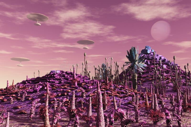 Города SciFi плавая иллюстрация штока
