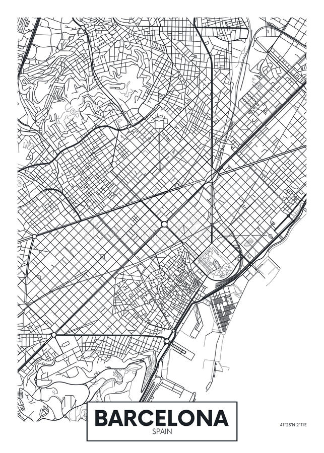 Город Барселона карты плаката вектора бесплатная иллюстрация