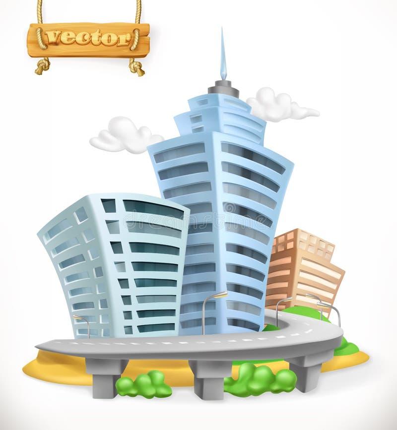 Город вектор иконы 3d иллюстрация вектора