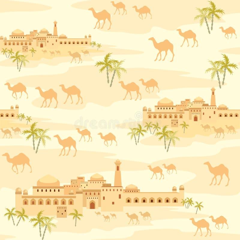Город в пустыне иллюстрация штока
