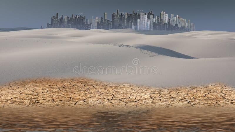 Город в расстоянии пустыни иллюстрация вектора