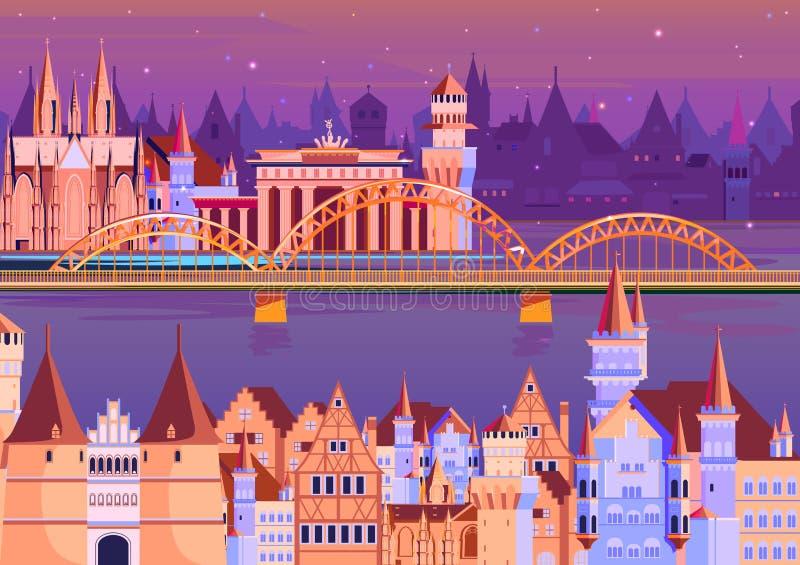 Город Германии с небоскребом иллюстрация штока