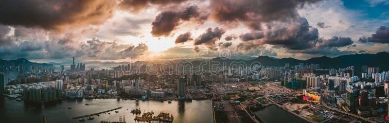 Город Гонконга в виде с воздуха стоковое фото rf