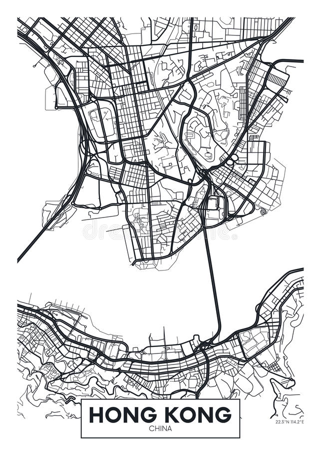 Город Гонконг карты плаката вектора иллюстрация вектора