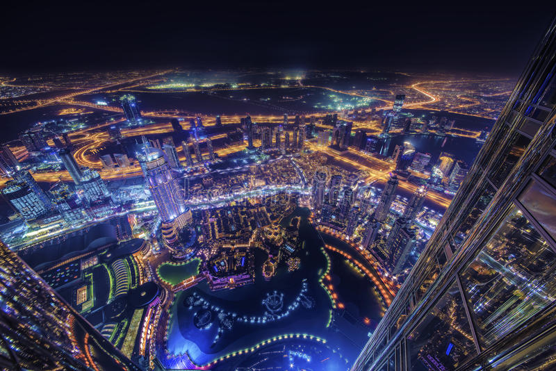 Город Дубай света стоковые изображения rf