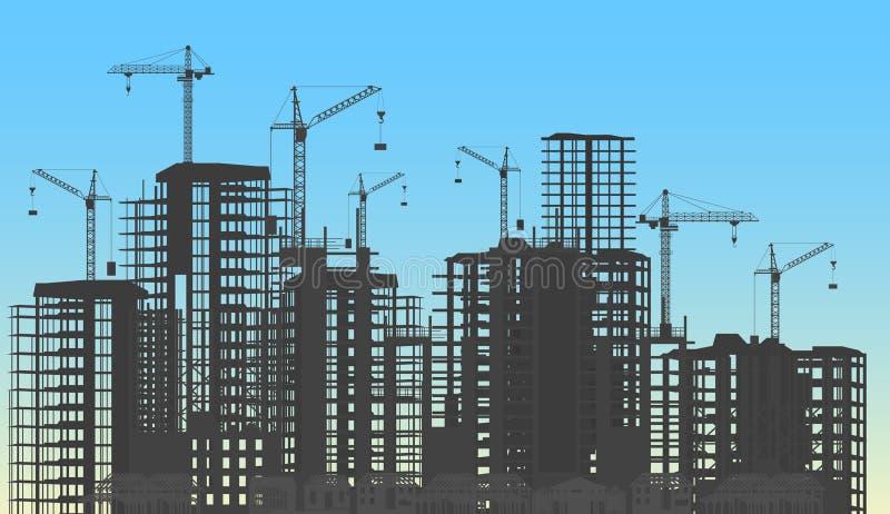 Город здания под процессом вебсайта конструкции с силуэтом кранов башни Шаблон infographics конструкций иллюстрация вектора
