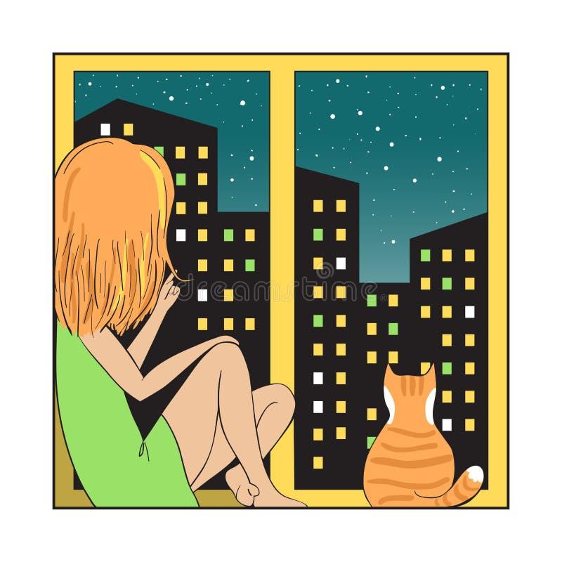 Город и девушка ночи с котом иллюстрация штока