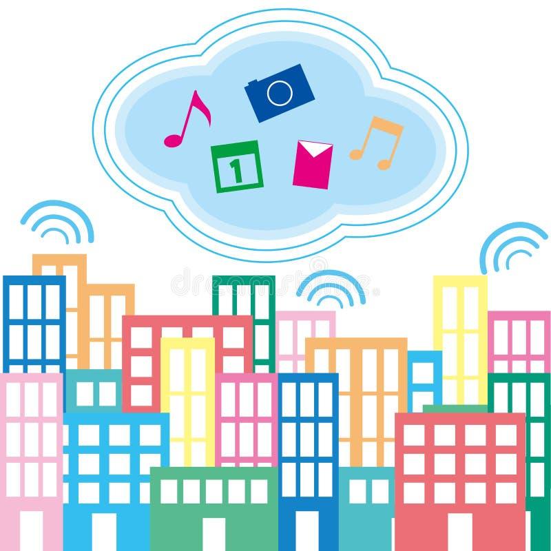Download Город и облака иллюстрация вектора. иллюстрации насчитывающей город - 41652628